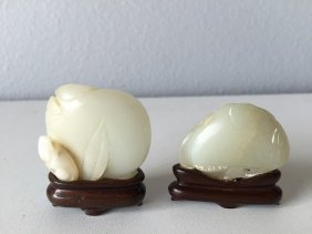 Pr. Chinese Jade Carving Peach Shape Ornament
