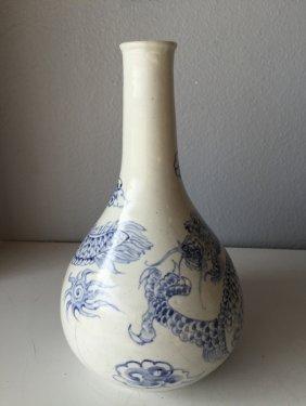 Korean White And Blue Porcelain Vase