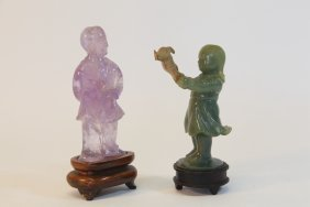 Chinese Cultural Revolution Crystal And Jade Figure Lot