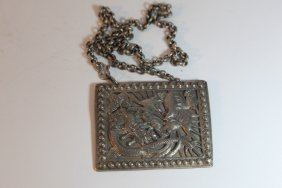 Chinese Silver Carved Necklace And Plate
