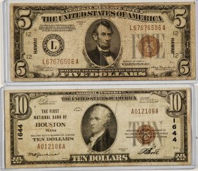 1934-a $5 Hawaii & 1929 $10 Houston National Note