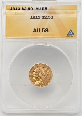 1913 Indian Head $2.50 Gold Anacs Au58