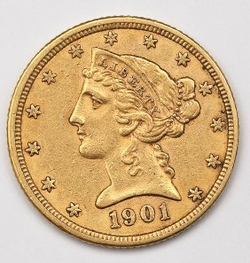 1901 Liberty Head $5 Gold Half Eagle