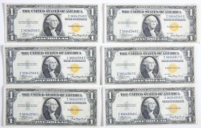 6 1935-a North Africa $1.00 Silver Certificates