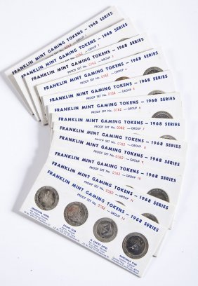 12 1968 Franklin Mint Gaming Tokens Proof Sets