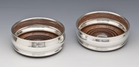 Pair Of Elkington Silver-plated Wine Coasters