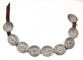 Signed Navajo Sterling & Turquoise Concho Belt