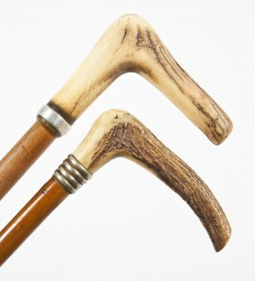 2 Wooden Canes With Antler Fritz Grips
