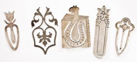 5 Mexican Sterling Silver Bookmarks