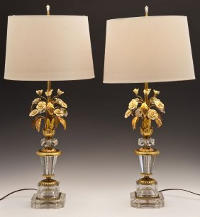 Pair Brass Floral & Etched Glass Table Lamps