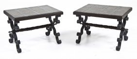 Pair Of Spanish Wrought Iron & Wood Tables