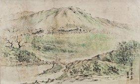 19th Century Korean Watercolor Of Landscape