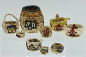 Nine Hopi Miniature Baskets