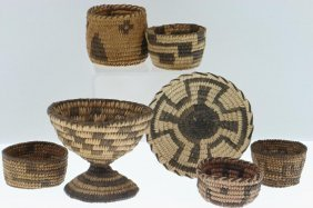 Seven Pima Miniature Basketry Items
