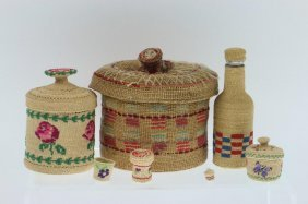 Seven Aleutian Basketry Items
