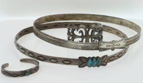 Four Navajo Jewelry Items: Two Hat Bands And Two
