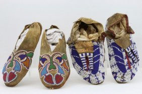 Two Pairs Of Plains Beaded Moccasins