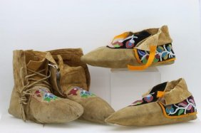 Two Pairs Of Northern Woodlands Beaded Moccasins