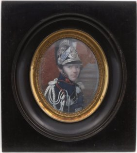 Portrait Miniature Of French Officer In Ebonized Frame