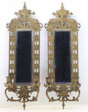 Pair Renaissance Revival Brass Two Light Wall Mirrors
