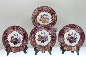 Seven Copeland Stone China Dessert Plates, Frog Pattern