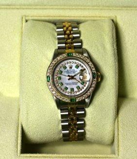 18k Y/g W Diamonds & Emeralds Rolex Ladies Watch