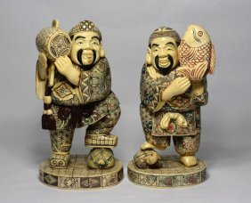 Pair Of Japanese Carved Bone Figure.