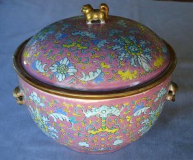 Chinese Famille Rose Procelain Food Cover Box