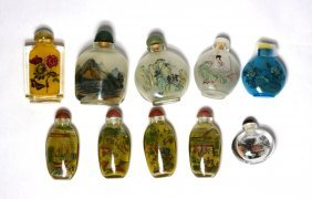Group Of Reverse Painting Glass Sunff Bottle