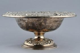 Kirk Sterling Silver Floral Repousse Decorated Compote.