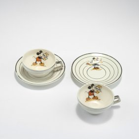 Two 'mickey Mouse' Cups And Saucers, 1930s
