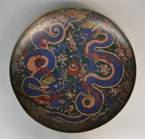 An Impressive Chinese Cloisonné Dish, Decorated With