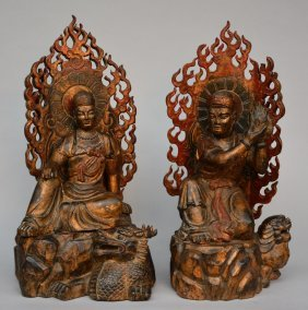 Two Oriental Giltwooden And Polychromed Buddhist