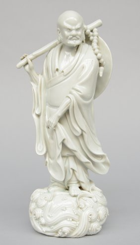 A Chinese 'blanc De Chine' Figure Of A Monk, Marked, H