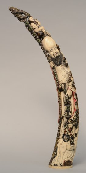 A Large Chinese Polychrome Ivory Carved Figure Of Shou
