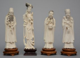 Three Chinese Ivory Sages; Added A Chinese Ivory