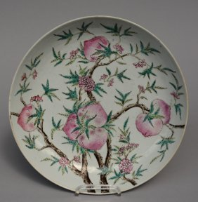 A Chinese Famille Rose Dish With Nine Peaches