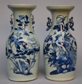 Two Chinese Celadon-ground Vases, Blue And White
