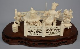 A Chinese Ivory Sculpture Depicting An Animated Garden