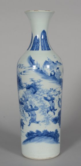 "A Chinese Blue And White ""transitional"" Vase, Decorated"