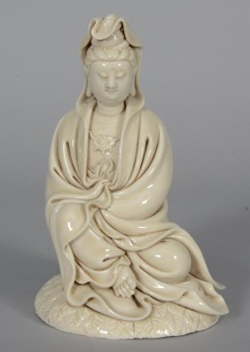 "A Chinese ""blanc De Chine"" Guanyin, Marked, 19thc, h 18"