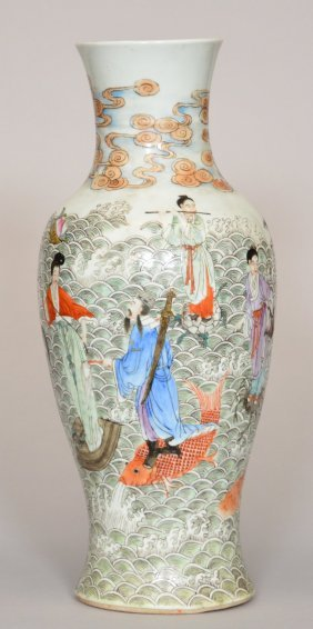 A Chinese Baluster Vase, Polychrome Decorated All