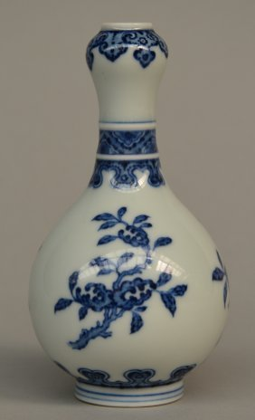 A Chinese Garlic-mouth Vase, Blue And White Decorated