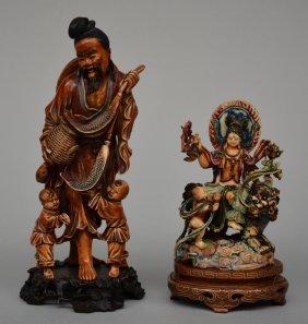 Two Chinese Ivory Sculptures, Figuring A Fisherman With