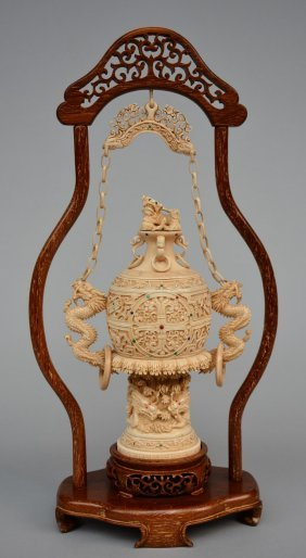 A Chinese Ivory Vase With Cover With Relief Decoration
