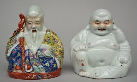 Chinese Budai And Shou Xing Figures, Polychrome