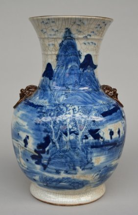 A Chinese Crackleware Vase, Blue And White Decorated