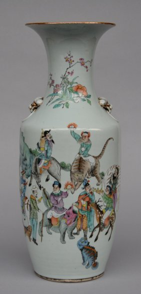 A Rare Chinese Polychrome Decorated Vase, Painted With