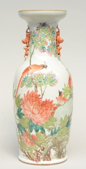 A Chinese Polychrome Vase, Decorated With Birds On