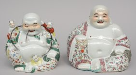 Two Chinese Laughing Budai, Polychrome Decorated,